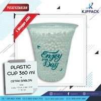 Plastik cup Bahan Tebal / Plastik cup 12 oz / Sablon Cup Murah