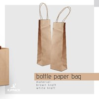 Bottle Paper Bag - Shopping Bag bottle - Tas kertas untuk botol wine - Custom ukuran paper bag