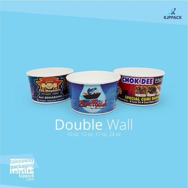 Double wall paper bowl untuk aneka makanan seperti ricebowl dan makanan berkuah murah Kota Malang
