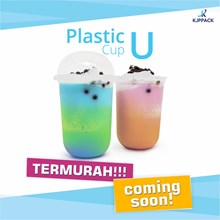 Gelas Plastik bentuk U / Plastik Cup U / Gelas Kop