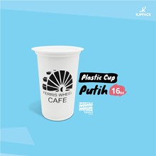 White plastic cup size 16 oz with the design of Se