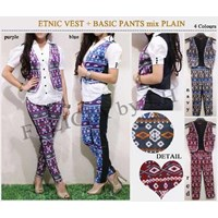 Jual Etnic Vest + Basic Pants Mix Plain