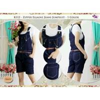 K112 Ziper Ellaine Jeans Jumsuit +Kaos+Belt