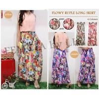Jual Flowy Ruple Long Skirt Fit L Matt~Spandex Digital Print