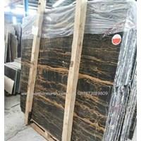 Jual Marmer Portoro Gold Marmer Hitam Corak Abstak Marmer Hitam Import China-Slab