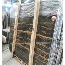 Marmer Portoro Gold Marmer Hitam Corak Abstak Marmer Hitam Import China-Slab