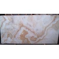 Marmer Onyx Putih Corak Gold Slab (O 180) Onyx Import White Golden