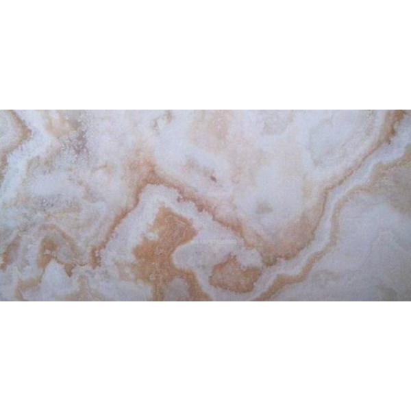 White Onyx Marble Pattern Gold Slab (O 180) Import White Golden Onyx