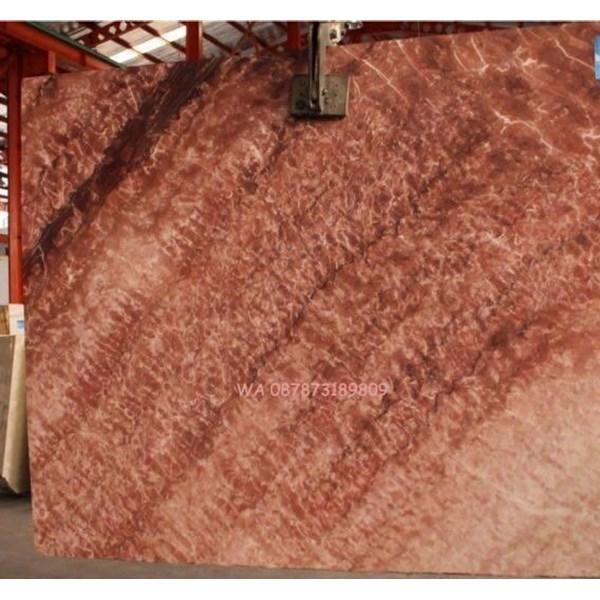 Marmer Merah Marmer Rosso Rantika Marmer Import Slab-Cuci Gudang