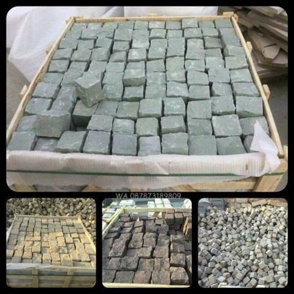 Batu Andesit Kobel Andesit Cobble Stone Paving Block Batu Alam Lokal