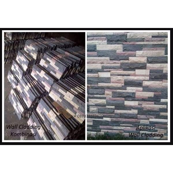 Batu Wall Cladding Kombinasi Batu Susun Sirih Mix Batu Cladding