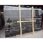 Marmer Nero Portoro Silver Marmer Hitam Corak Abstak Marmer Hitam Import Italy-Slab 1