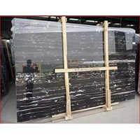 Marmer Nero Portoro Silver Marmer Hitam Corak Abstak Marmer Hitam Import Italy-Slab