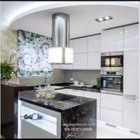Jual Meja Marmer Hitam Alur Putih Marmer Putih Import Meja Dapur Kitchen Set 2