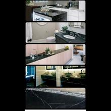Meja Marmer Hitam Alur Putih Marmer Putih Import M