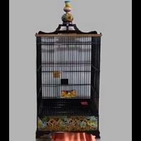 Sangkar Burung Cukit Kotak Tanpa Tiang Motif Wayang