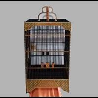 Sangkar Burung Cukit Motif Batik Kawung Warna