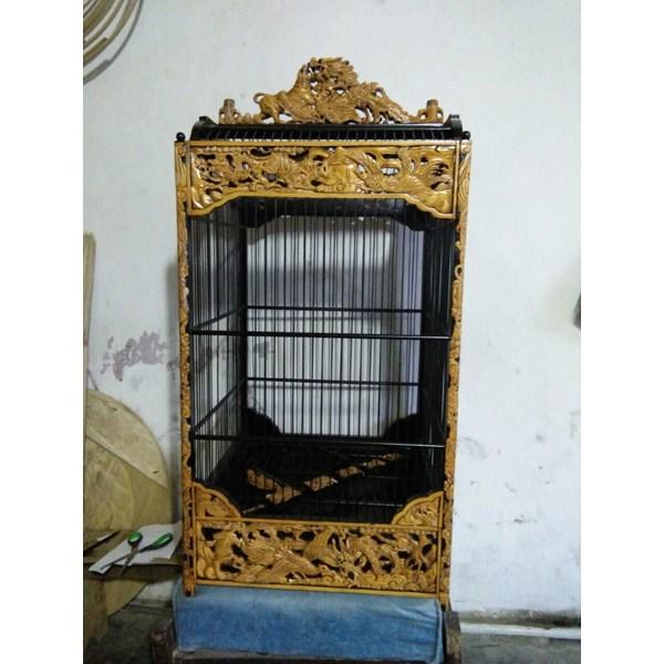 Sangkar Ukir Kotak Motif Macan Tarung Burung Hong