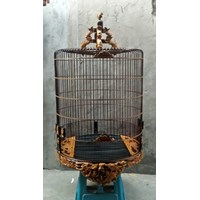 Jual Sangkar Burung ukir  motif ikan finishing natural muray batu