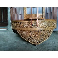 Bird cage carved with rose motif bamboo Size 38. Natural funishing.