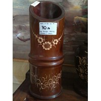 Jual Kerajinan Kayu Vas Bunga Bentuk Bambu