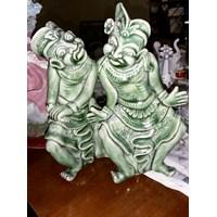 Set Patung Keramik Hijau Patung Hewan