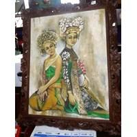 Lukisan Pemandangan Bali Frame Ukir