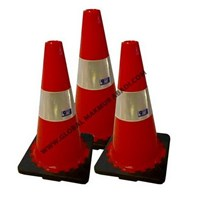 911 Rubber Traffic Cone Kaki Hitam 70Cm 1