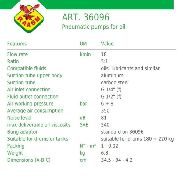 Pompa Oli Pneumatic Raasm art no.36096