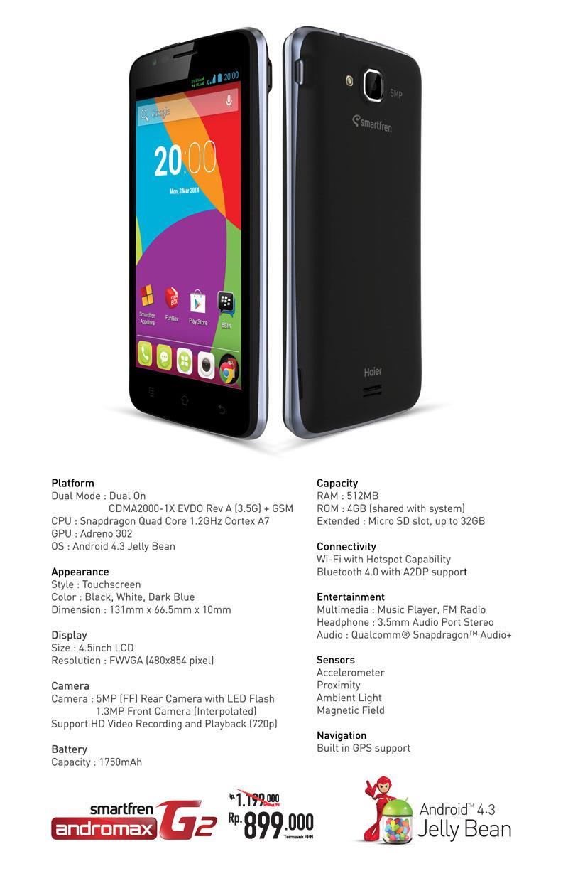 Harga Smartfren Andromax G2 Terbaru Dan Fitur Spesifikasi