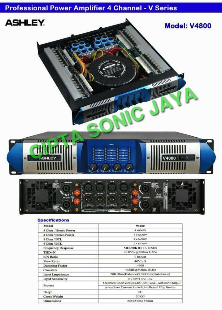 jual power amplifier ashley 4 ch v4800 harga murah jakarta oleh toko cipta sonic jaya. Black Bedroom Furniture Sets. Home Design Ideas