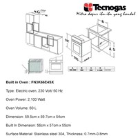 Jual Tecnogas FN3K66E4SX Premium Oven  2