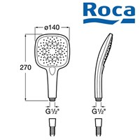 Sell head shower roca plenium square handshower 2