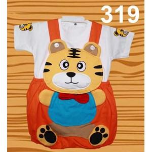 Setelan Baju Kodok Anak Karakter Tiger Dasi