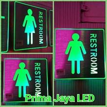 Sign Restroom Women LED Hijau