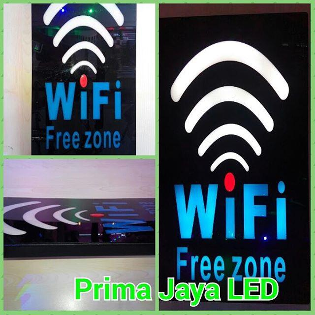 Jual LED Tulisan WIfi Free Zone Harga Murah Jakarta Oleh
