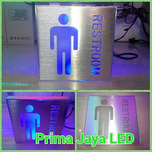 Sign LED Restroom Pria Biru