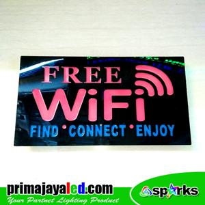 Lampu LED Sign Free Wifi Pink