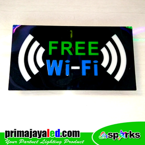 Lampu LED Sign LED Wifi Hijau Biru 2 Sinyal