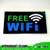 Lampu LED Sign LED Free Wifi Hijau Biru 1