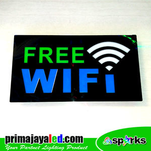 Lampu LED Sign LED Free Wifi Hijau Biru