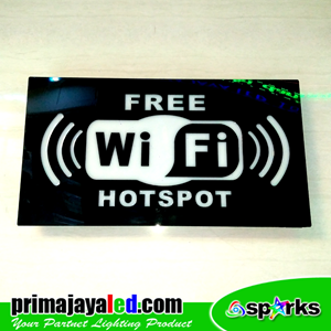 Lampu LED Sign LED Wifi Hitam Putih