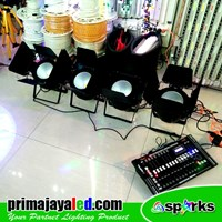 Lampu Panggung Paket Set 4 Fresnel LED COB 200w 2in1 DMX Pro