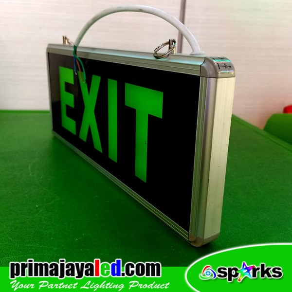Sign Exit Emergency Model 2 sisi