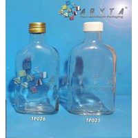 Botol Kaca Bening 250ml Gepeng tutup Kaleng & Plastik 1