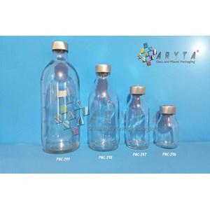 Botol Kaca Bening 50ml 100ml 250ml 500ml Injeksi Tutup Karet & Aluminium