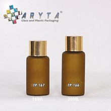 Botol kaca mossa coklat tutup gold polos 18ml & 20ml