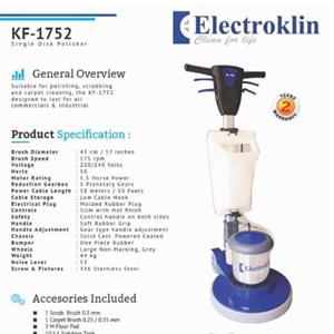 Mesin poliser lantai Electroklin KF 1752 17 inch 175 RPM garansi 2 tahun Best Product