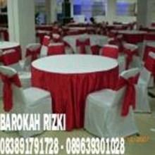 cover meja + sarung kursi hotel warna merah