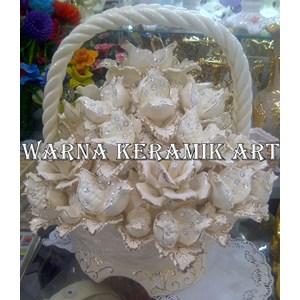 Bunga Keranjang Putih Jumbo